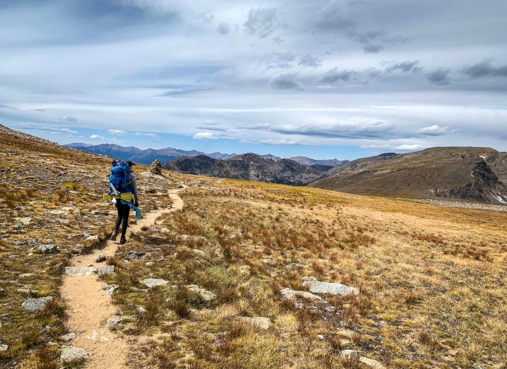 Hiking through the tundra across the Continental Divide in Rocky Mountain National Park