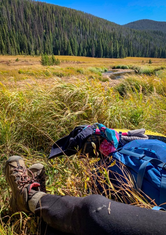 Keen hiking shoes and Osprey backpack in Big Meadows, Rocky Mountain National Park