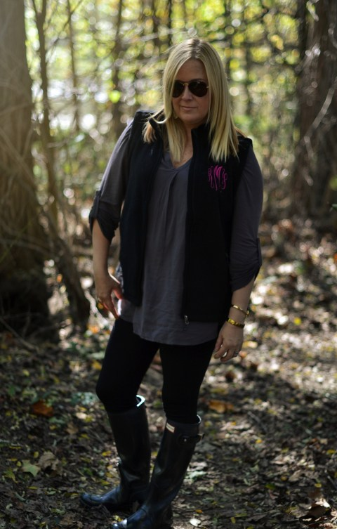 This monogrammed fleece vest is my current obsession for fall! Chic and cozy! GlamKaren.com