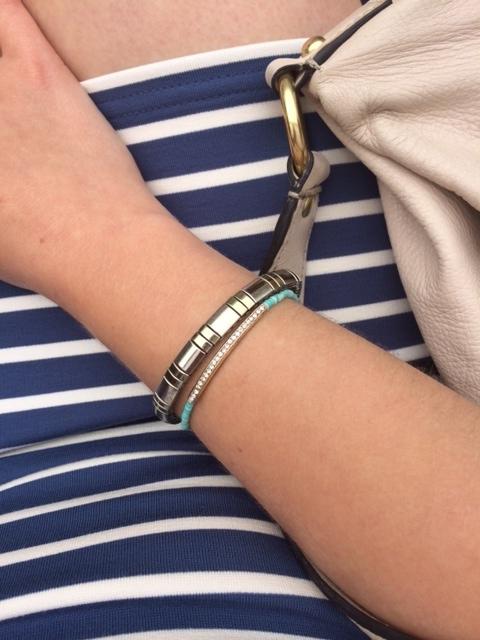 Striped pencil skirt and bracelets