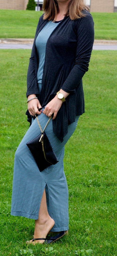 Long striped dress with charcoal cardigan