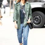 Jessica Alba wearing X Revolve The Crew Neck and Louise et Cie Apolla Sandal