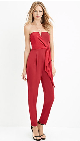 Contemporary Strapless V-Notched Jumpsuit