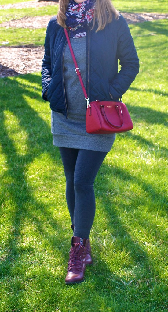 Red, Blue and Grey Outfit Idea for Spring