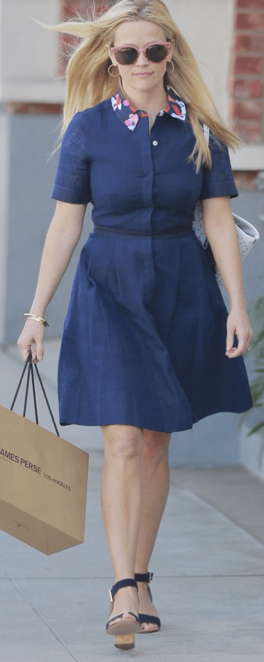 Reese Witherspoon wearing Draper James Acklen Shirtdress