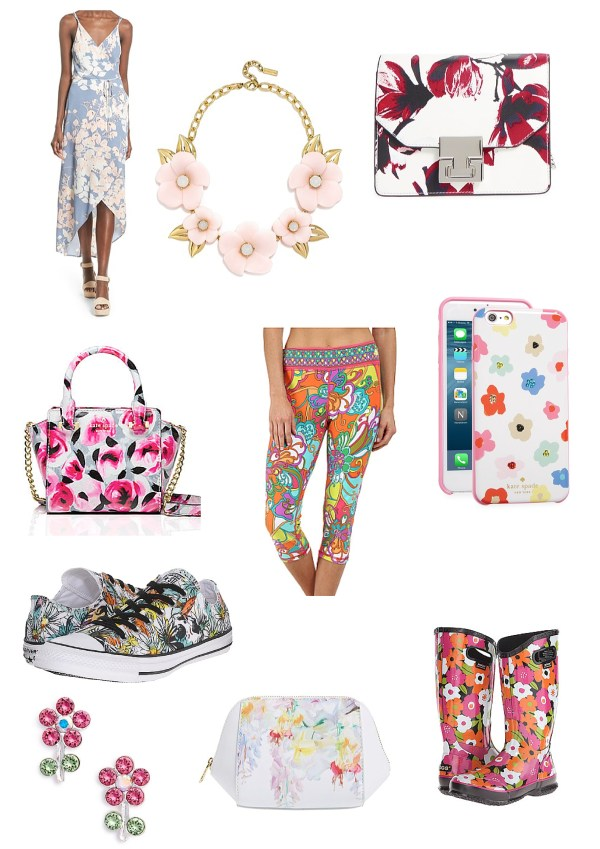 Flower patterned clothes, shoes and jewelry