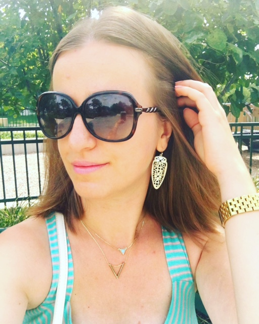 Pastel green bracelet and Kendra Scott earrings