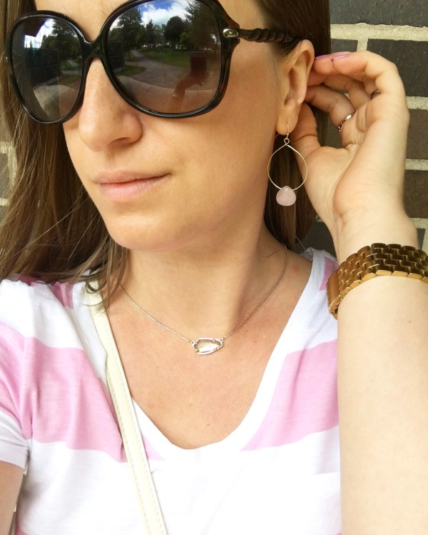 Kendra Scott Cami Rose Gold Necklace in Brown Mother of Pearl