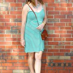 Green And White Striped Dress with Green Accessories
