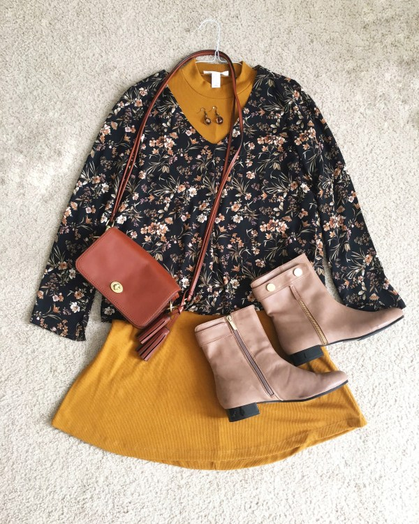 Floral Print Chiffon Top - Fall Outfit Idea