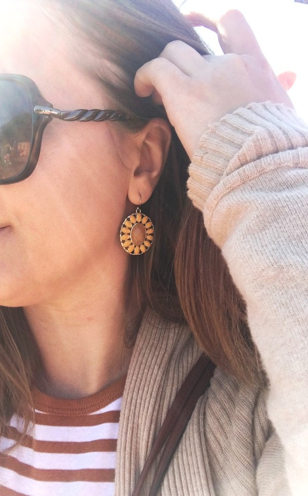 Yellow and brown flower earrings