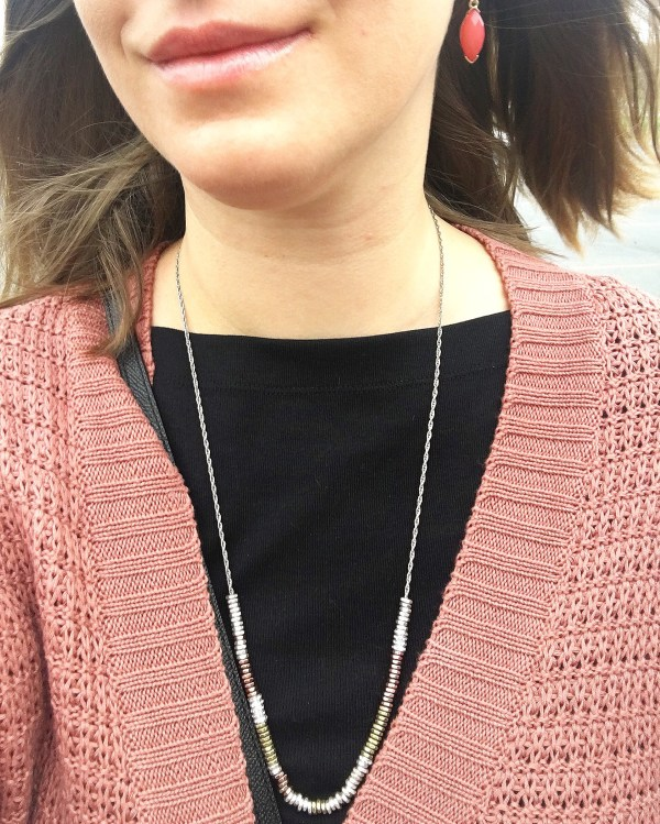 Long metal beads necklace