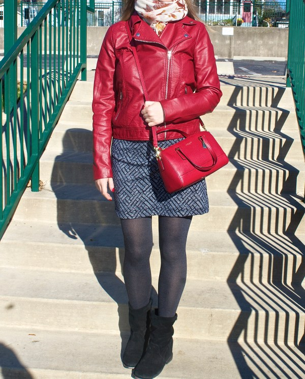 Red Leather Jacket - Fall Outfit Idea