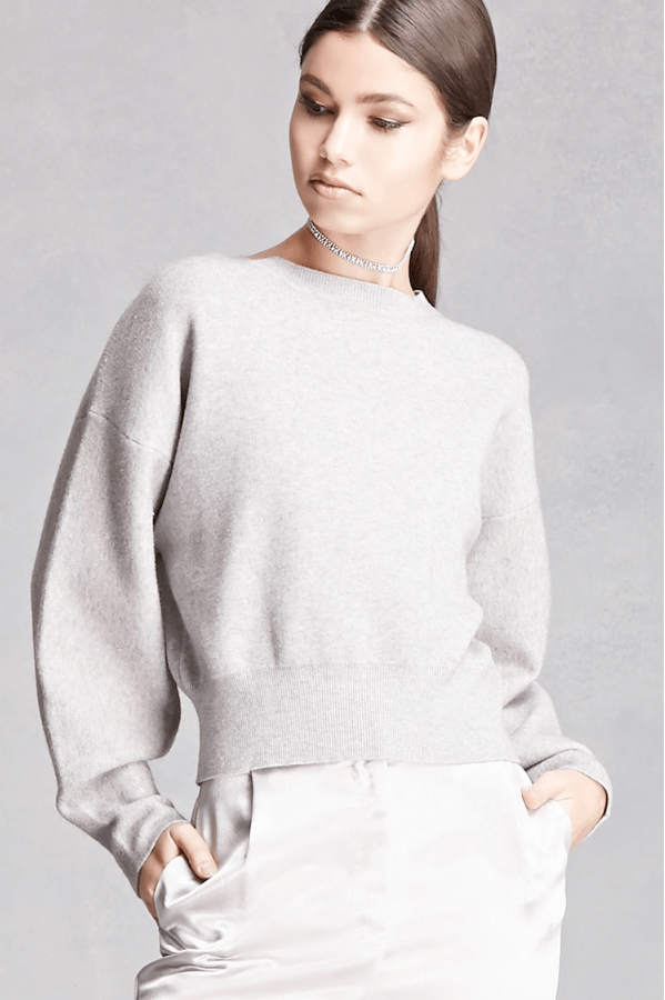 Boxy Heathered Knit Sweater
