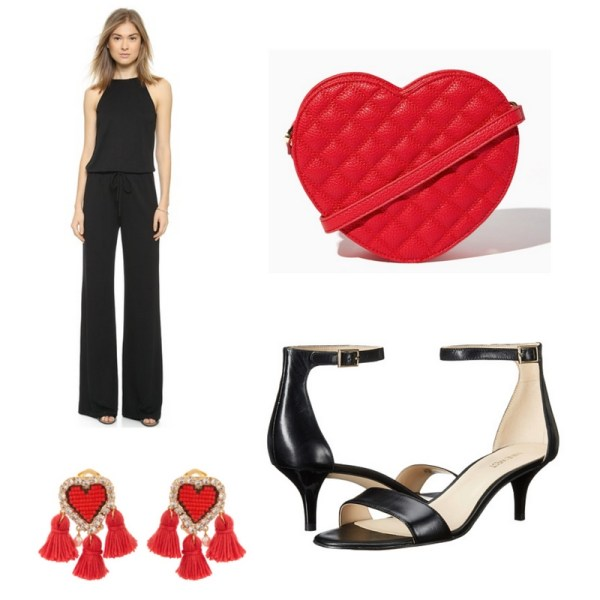 Black and red Valentine's Day outfit idea