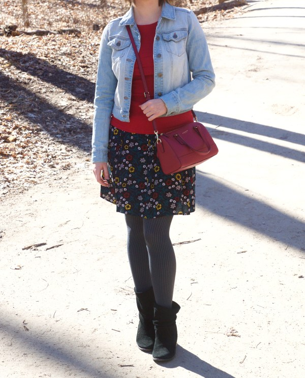 Floral Skirt, Denim and Red - Spring Outfit Idea