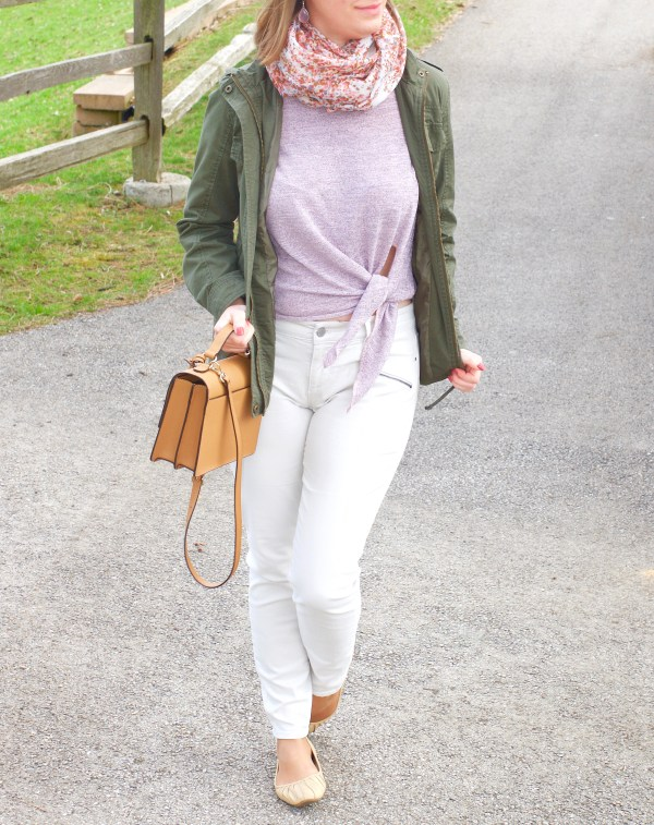 Lilac Criss Cross Front Tie Top and White Denim