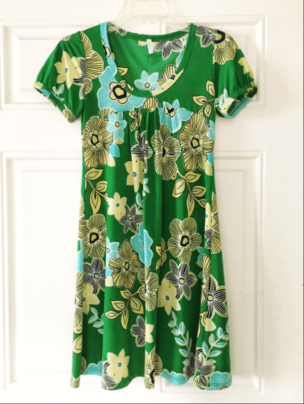 Green and Yellow Floral Dress
