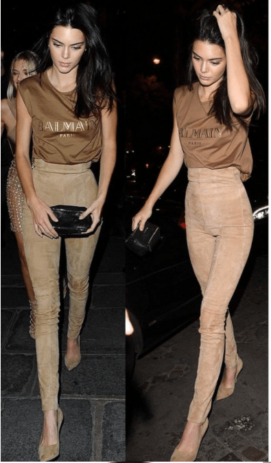 Kendall jenner wearing Balmain Paris brown top