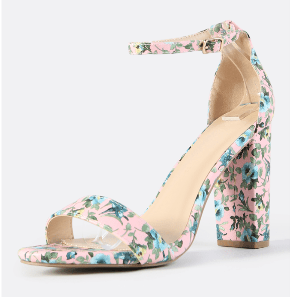 Chunky Floral Ankle Strap Heels PINK