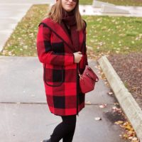 Red And Black Plaid Fall/Winter Coat