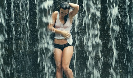 Bre at the waterfall