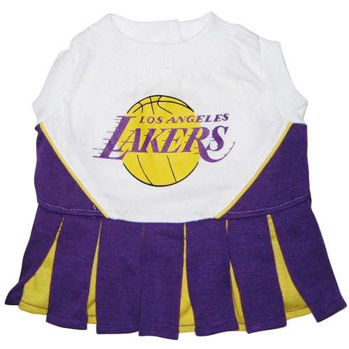 Los Angeles Lakers Dog Cheerleader Dress Clothes Offically Licensed NBA Pet Gear At