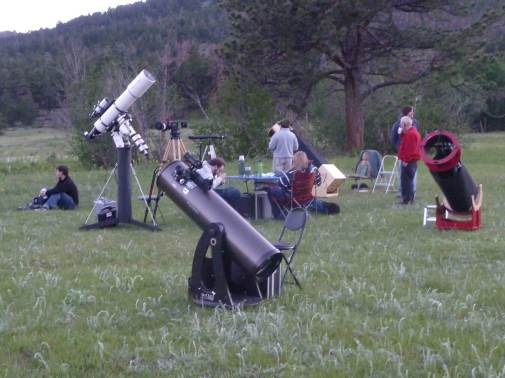 Setting up telescopes for the nighttime sky, RMNP.
