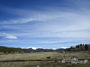 Blue skies and white capped mountains as we left the campground. Kenosha Pass, CO