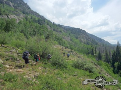Lots of backpackers heading to Gore Lake.
