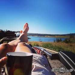 Natasha enjoying her morning coffee. Steamboat Lake, CO.