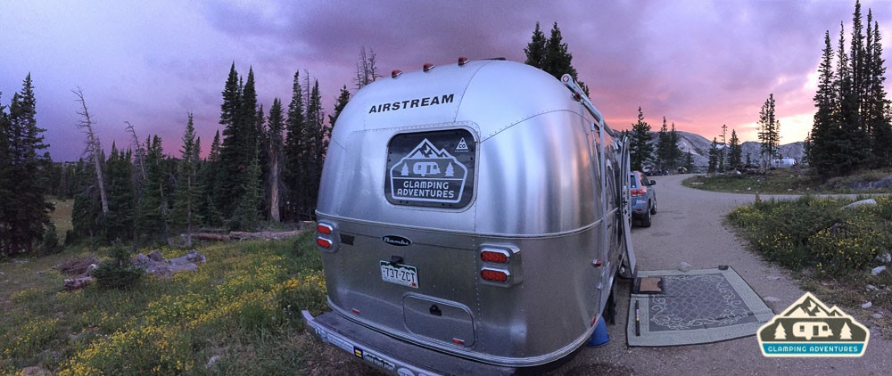 Our new Glamping Adventures logo on the back of the Airstream. Wave if you see us! Sugarloaf CG, WY.