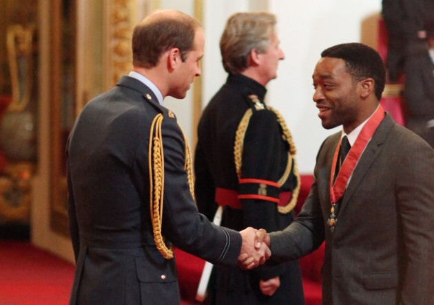 Actor Chiwetel Ejiofor is made a Commander of the Order of the British Empire (CBE) by the Duke of Cambridge at Buckingham Palace (Picture: Yui Mok/PA)