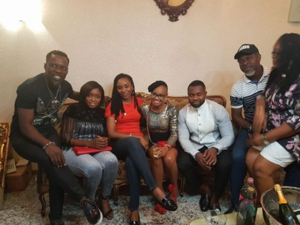 Marvis, Bisola And Kemen Enjoy Private Dinner With Marvis' Boss In Port-Harcourt