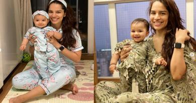 Actress Shikha Singh 'Aliya' Twin In Matching Pyjama Sets With Daughter