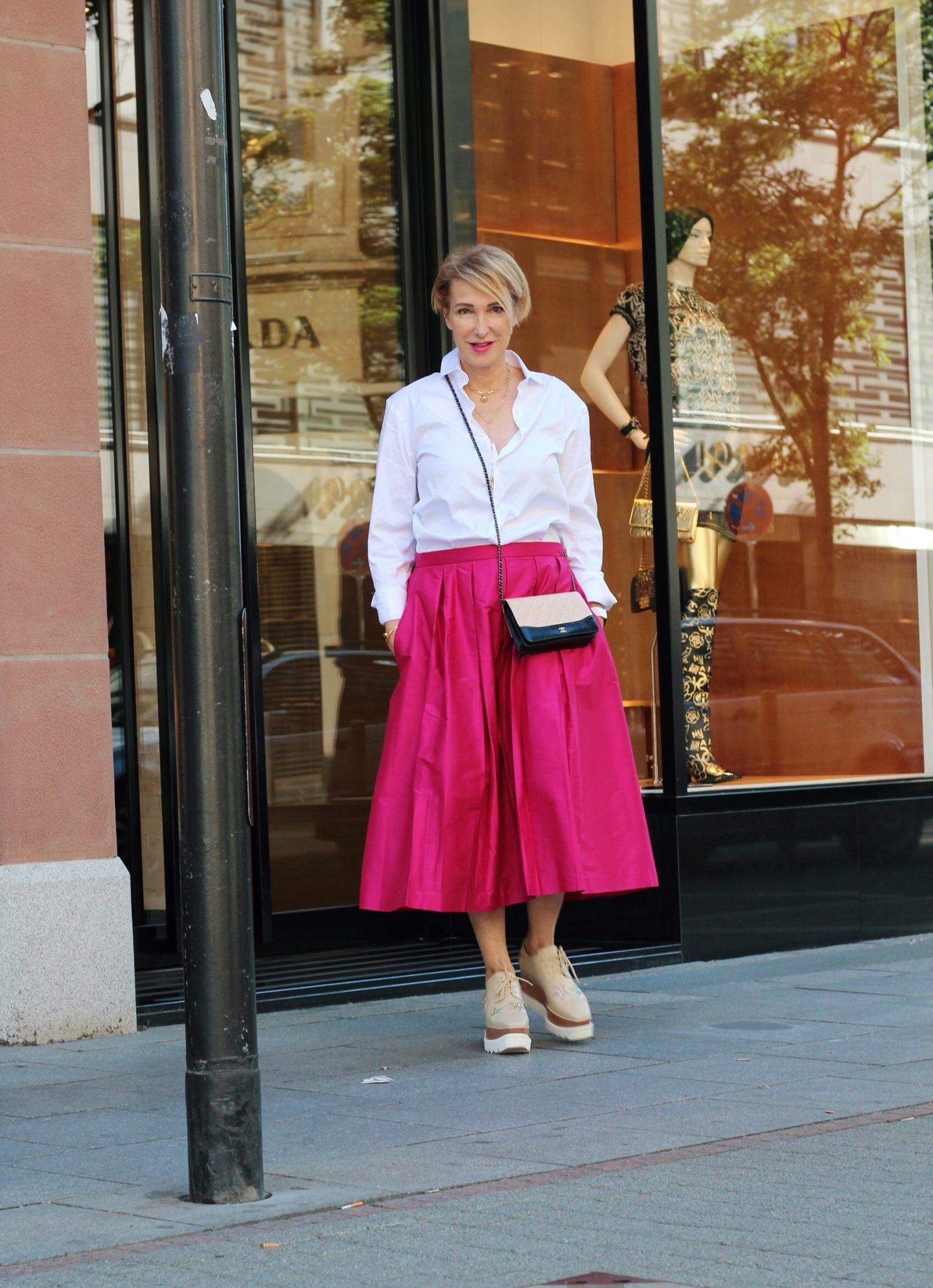 glamupyourlifestyle pink Sommerrock pinker-Rock Midi-Rock ü-40-blogger ü-50-blogger ue-40-blog ue-50-blog