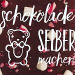Schokolade selber machen- dunkle Schokolade mit Marshmallows und Zuckerstangen
