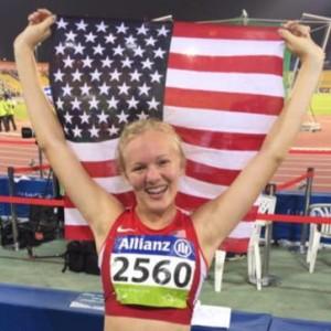 Jessica Heimes holding american flag