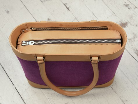 Hand-burnished-natural-leather-Business-Tote-with-hand-colored-violetta-linen-and-lime-green-lining;-17-x-13-x-4'-topdown1