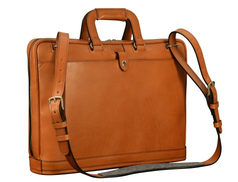 Hand-burnished-chestnut-Platform-Portfolio-with-shoulder-strap-and-open-back-pocket;-17-x-12-x-4'-back