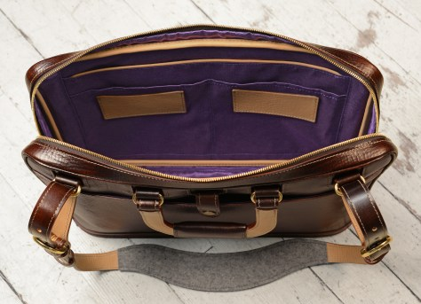 Hand-grained-hand-colored-espresso-Platform-Portfolio-with-purple-lining-and-shoulder-strap;-16-x-11-x-4'-topdown3