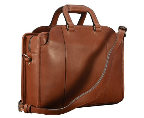 Hand-burnished-espresso-Day-Bag-with-tangerine-grosgrain-lining;-16-x-11-x-4-back