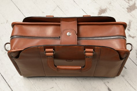 Hand-burnished-espresso-Day-Bag-with-tangerine-grosgrain-lining;-16-x-11-x-4-topdown1