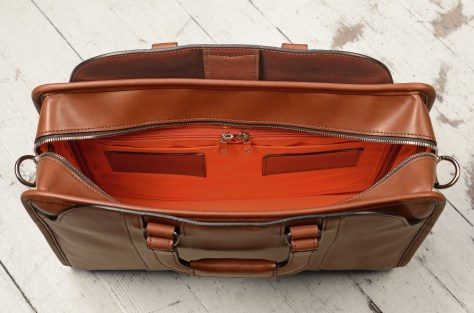 Hand-burnished-espresso-Day-Bag-with-tangerine-grosgrain-lining;-16-x-11-x-4-topdown2