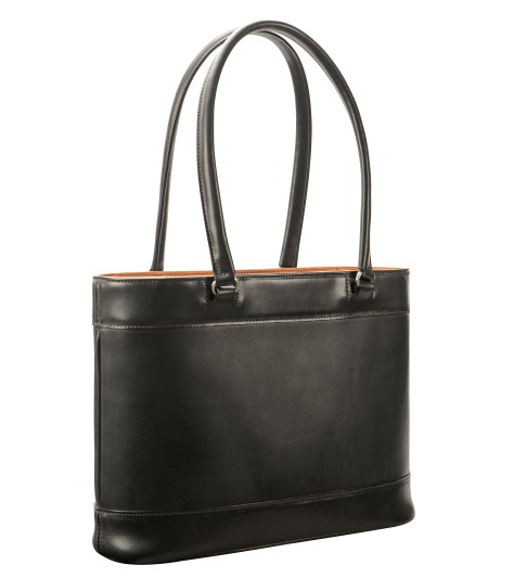 Hand-burnished,-black-Business-Tote-with-chestnut-trim-and-long-handles;-14-x-10-x-4