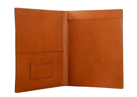 Hand-burnished-chestnut-all-leather-Writing-Pad-inside