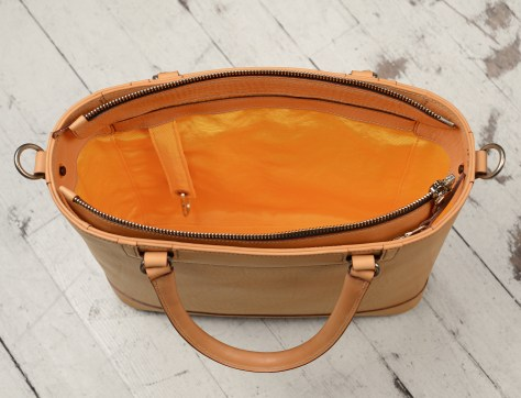 Natural-leather-Business-Tote-with-cadmium-yellow-lining-and-shoulder-strap;-14-x-13-x-4-topdown3