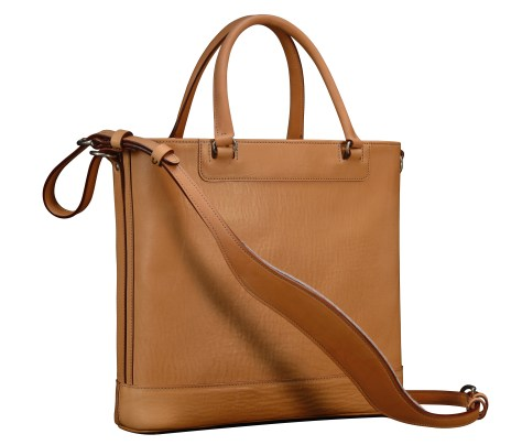 Natural-leather-Business-Tote-with-cadmium-yellow-lining-and-shoulder-strap;-14-x-13-x-4