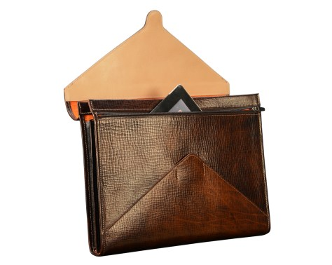 Hand-grained,-hand-colored-espresso-All-Leather-Flapover-Folderholder®-with-natural-leather-trim-and-tangerine-grosgrain-lining-open