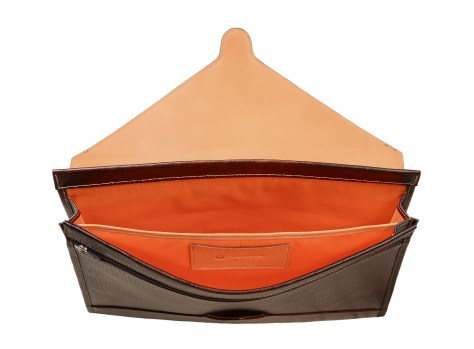 Hand-grained,-hand-colored-espresso-All-Leather-Flapover-Folderholder®-with-natural-leather-trim-and-tangerine-grosgrain-lining-topdown